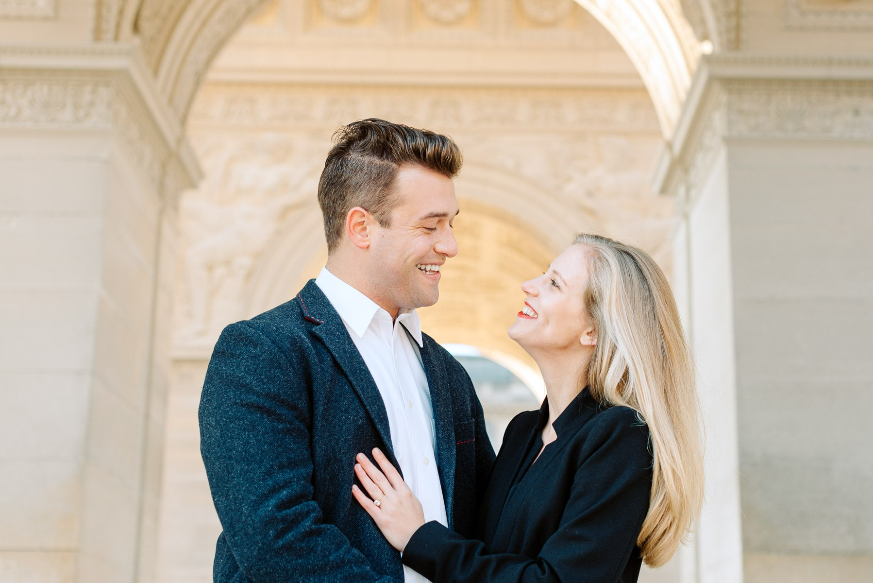 couple at engagement session in the louvre paris