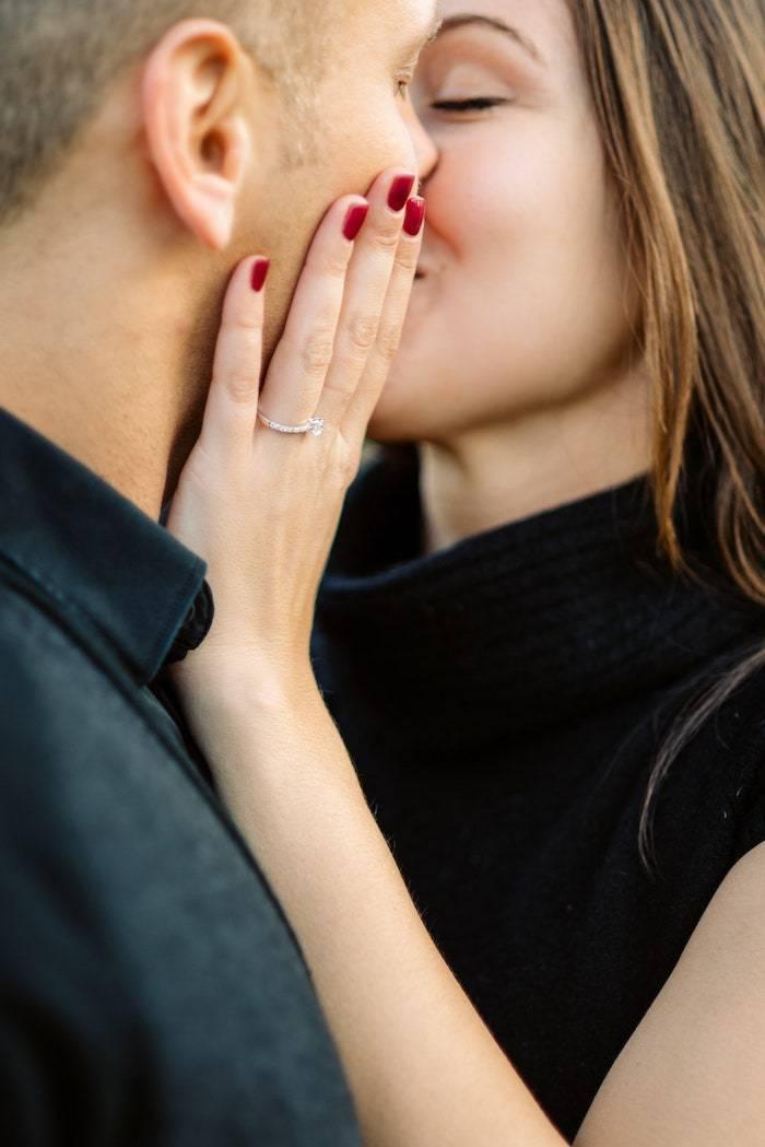 close up of engagement ring after surprise proposal paris