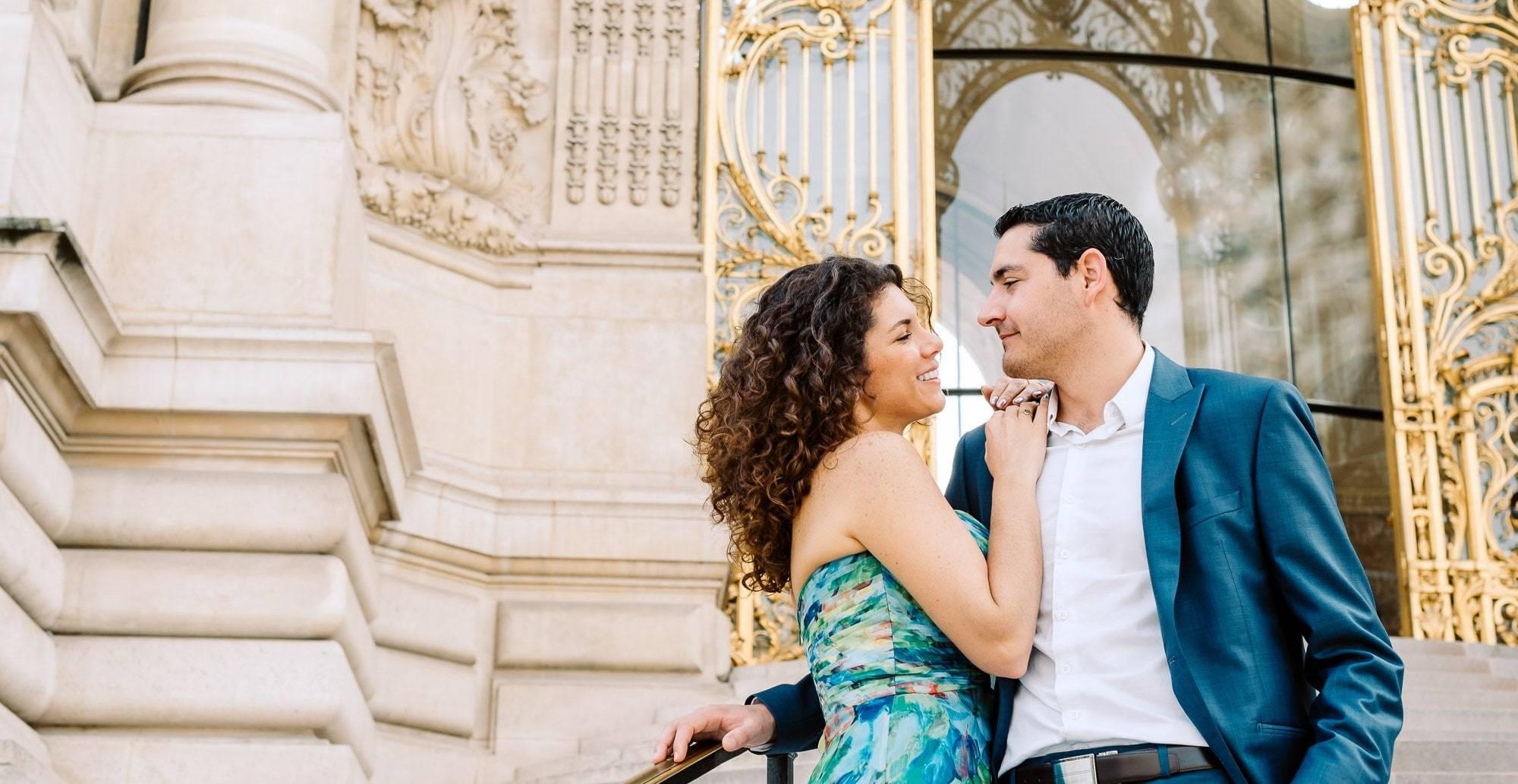 Paris couple in front of Petit Palais