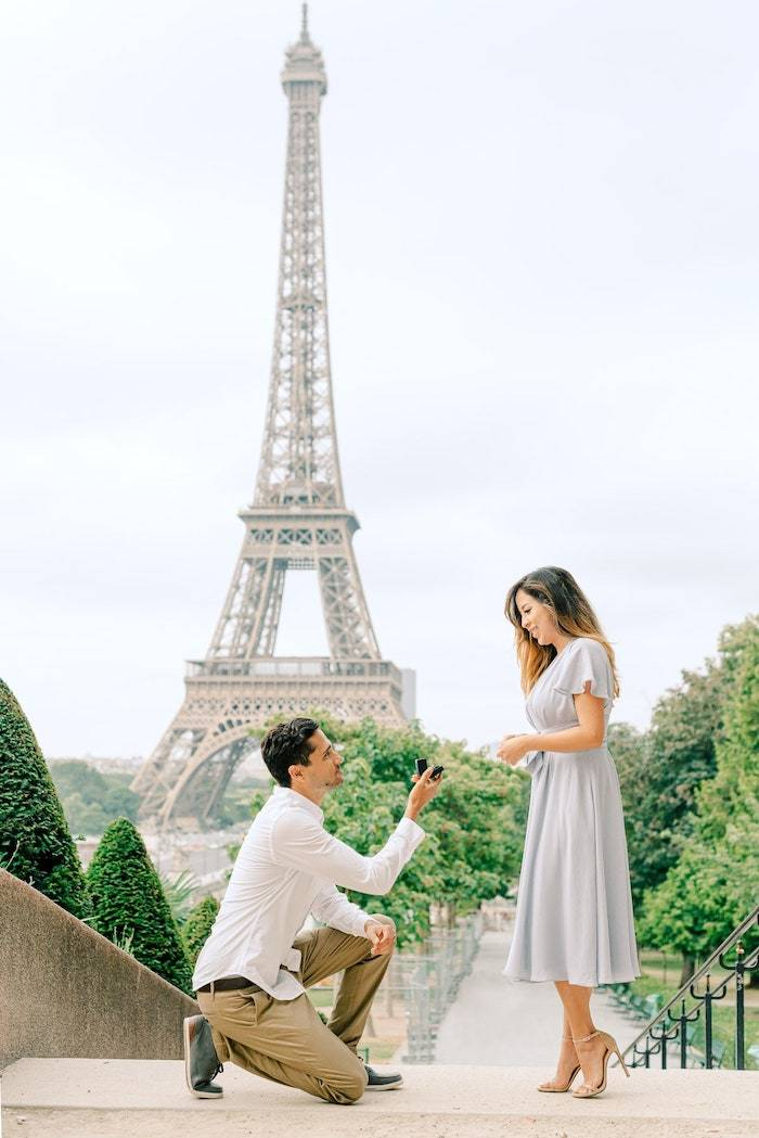 surprise proposal in front of the eiffel tower