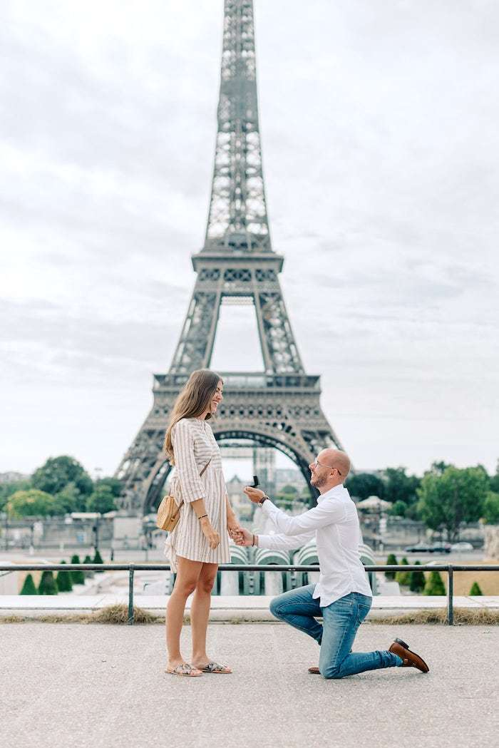 surprise proposal in front of the eiffel tower paris summer